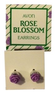 Avon Vintage Avon Rose Blossom Earrings Purple with surgical steel posts 1985 New in Box