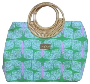 Lilly Pulitzer Bamboo Satchel in Green/Pink
