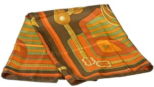 Hermes Hermes Orange Multicolor Coaching Silk Scarf