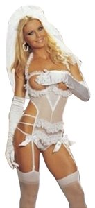 3 Piece Bride Bachelorette Lingerie Set Booty Veil - One Size