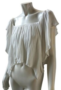Free People Gauzey Cropped 7763 Top White
