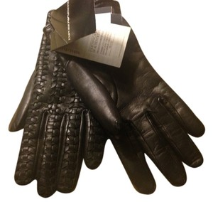 Emporio Armani beautiful soft black leather quilted women's gloves