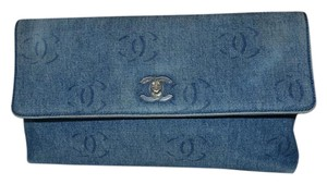Chanel Denim Large blue Clutch