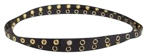 Diane von Furstenberg HALEY DOUBLE WRAP BELT BLACK AMD GOLD