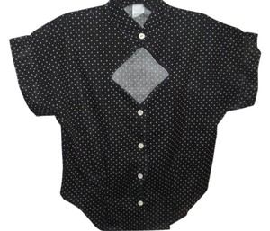 Other Dot Graphic Cutaway Sheer Lightweight Button Down Shirt black