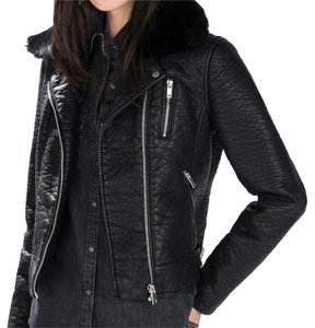 Zara Leather Jacket with Detachable Fur Collar Leather Jacket