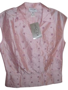 Oscar de la Renta Blouse Fitted Evening Sheen Top pink