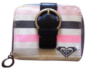 Roxy Wallet Canvas Striped PINK, GREY, AND BLACK Clutch