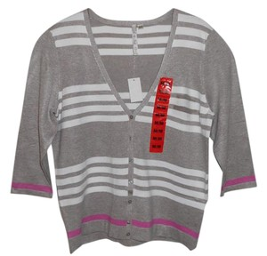 Leo & Nicole & Stripes Pink Sweater Cardigan