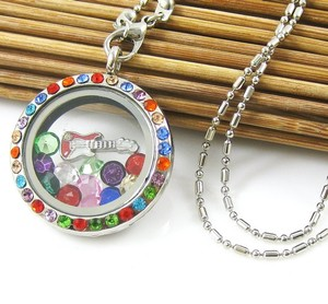 Round Silver Memory Floating Charm Locket Necklace Free Shipping