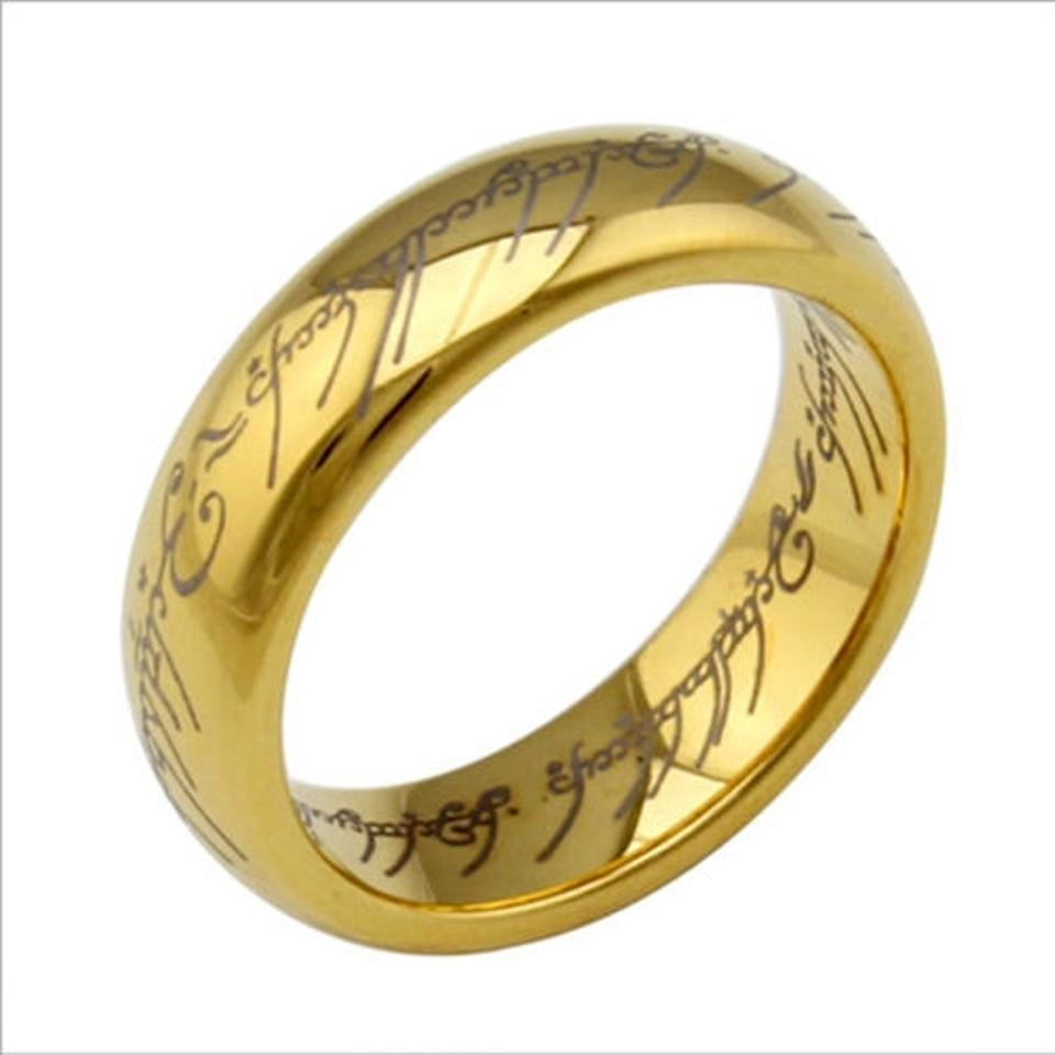 Gold Lord Of The Rings Anium Steel Free Shipping Men S Wedding Band