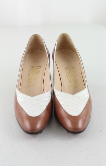 Salvatore Ferragamo Ivory and Brown Formal
