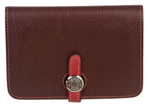 Hermes Hermes Maroon and Rouge Garance Leather Dogon Compact Wallet