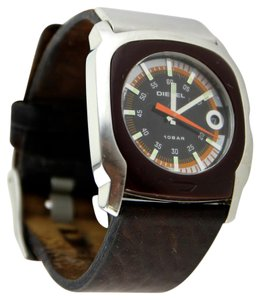 Diesel Diesel Men's Silver Tone and Brown Leather Strapped Watch 40mm