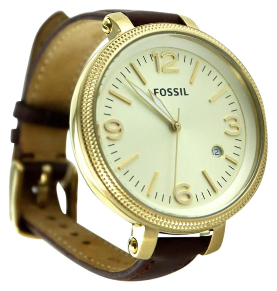 Fossil Gold Tone Brown Leather Mens Stainless Steel Strap 42mm Men Watch