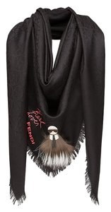 Fendi Silk and Wool Embroidery Karlito Shawl