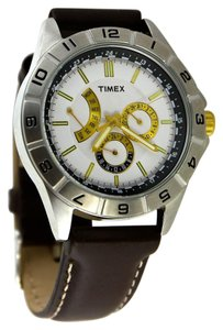 Timex * Timex Men's Retrograde White All Brown Leather Chronograph Watch