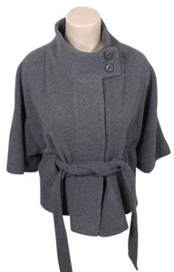 MM Couture Wool Cape Belted Pea Coat