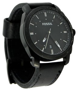 Fossil Fossil Men's Machine FS4837 Black Leather Quartz Watch 42mm