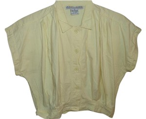 Amilano Pastel Loose Pleated Relaxed Baggy Button Down Shirt yellow