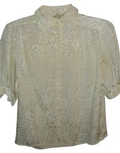 Lloyd Williams Vintage Sheen Shine Metallic Light Button Down Shirt ivory