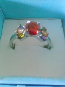 Bow shape topaz multi colored white gold filled ring size 8 nib