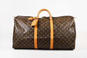 Louis Vuitton Vintage Tan Coated Canvas Leather Monogram Keepall 60 Satchel in Brown