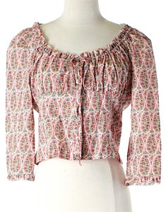 Anna Sui Cropped Paisley Ruffle Top