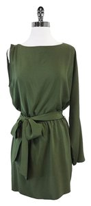 Haute Hippie short dress Olive Green Silk One Shoulder on Tradesy