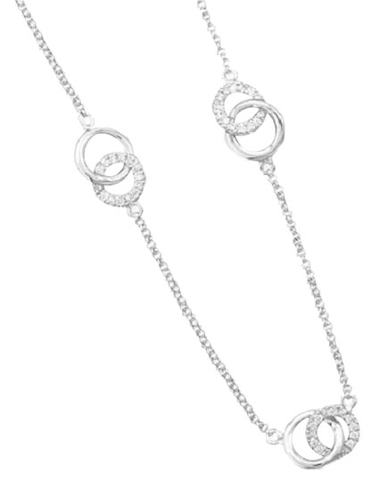 """Impulses 18"""" Rhodium Plated Sterling Silver Interlocking Ring Necklace"""