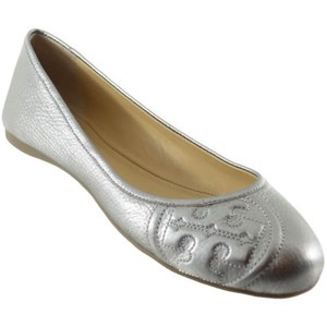 Tory Burch Leather Leather Silver Flats