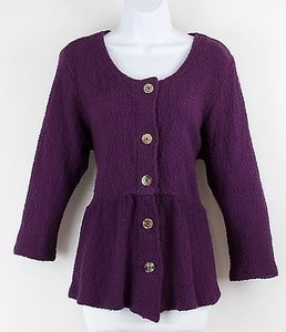 Cmc Purple Peplum Cotton Sweater