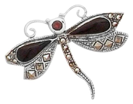 Impulses Marcasite Dragonfly Pin with Black Onyx and Garnet