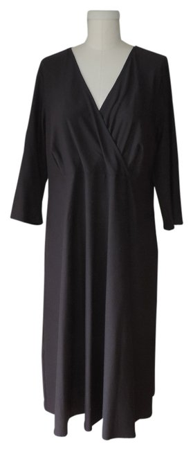 Eileen Fisher Oak Viscose Stretch Surplice Vneck Dress