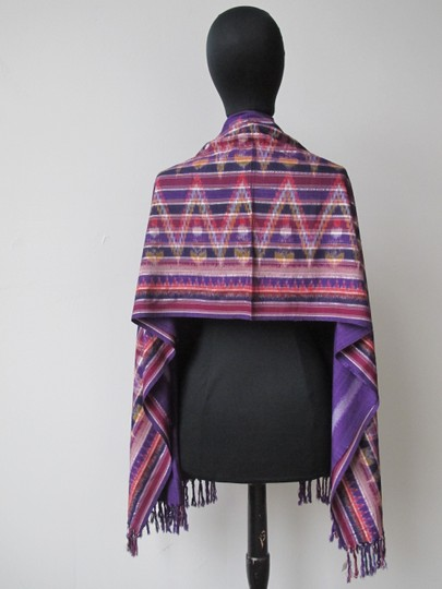Handmade Colorful Modern Ikat Patterned Shawl/Wrap Image 2