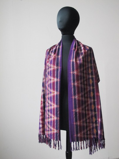 Handmade Colorful Modern Ikat Patterned Shawl/Wrap Image 4