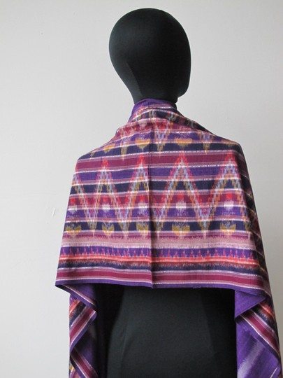 Handmade Colorful Modern Ikat Patterned Shawl/Wrap Image 5