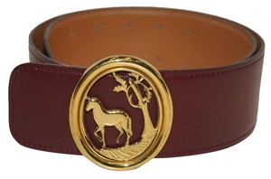 Hermes Authentic Hermes Red Belt Gold Horse Buckle Double Hole 65