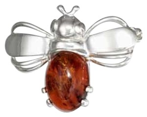 STERLING SILVER HONEY AMBER BUMBLE BEE PIN