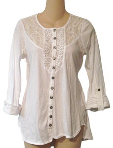 Language L Embroidered Button Down 92% Cotton 8% Silk Lace Crochet Top White