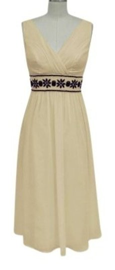 Light Beige Chiffon Goddess Beaded Waist Casual Wedding Dress Size 28 (Plus 3x)
