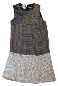 Diane von Furstenberg Tweed Pleats Sleeveless Leather Dvf Dress