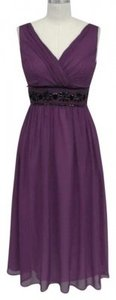 Purple Chiffon Goddess Beaded Waist Feminine Dress Size 16 (XL, Plus 0x)