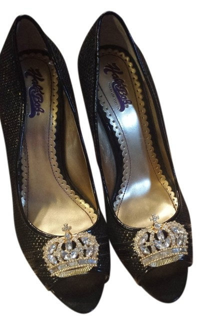 Item - Black and Gold Crown Pumps Size US 7.5