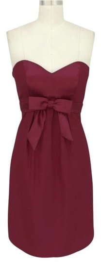 Red Satin Sweetheart Bow Cocktail Formal Modern Dress Size 8 (M)