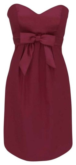 Red Satin Sweetheart Bow Cocktail Formal Modern Bridesmaid/Mob Dress Size 8 (M)