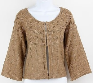 Other City Unltd Ckmu0172 Tan Gold Metallic Cardigan B51 Sweater