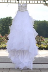 DaVinci Bridal White Organza Princess Cut Ball Gown Casual Wedding Dress Size 4 (S)