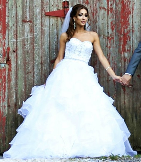 DaVinci Bridal White Organza Princess Cut Ball Gown Casual Wedding Dress Size 4 (S) Image 3