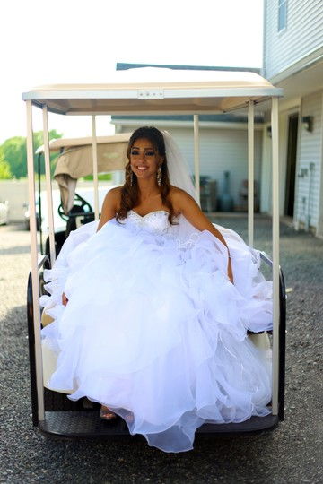 DaVinci Bridal White Organza Princess Cut Ball Gown Casual Wedding Dress Size 4 (S) Image 6